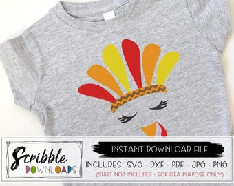 turkey face SVG - thanksgiving instant download - girl turkey svg - printable PDF - cricut - iron on - Silhouette - cut file PDF girly cute