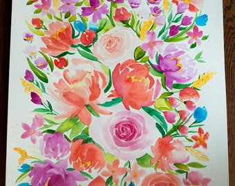 Large Floral Watercolor