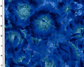 Flowers Blue Midnight Tonal Kona Bay Fabric 1 yard