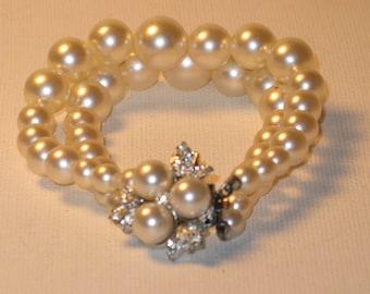 Vintage White Faux Pearl Double Strand Bracelet (BR-2-3)