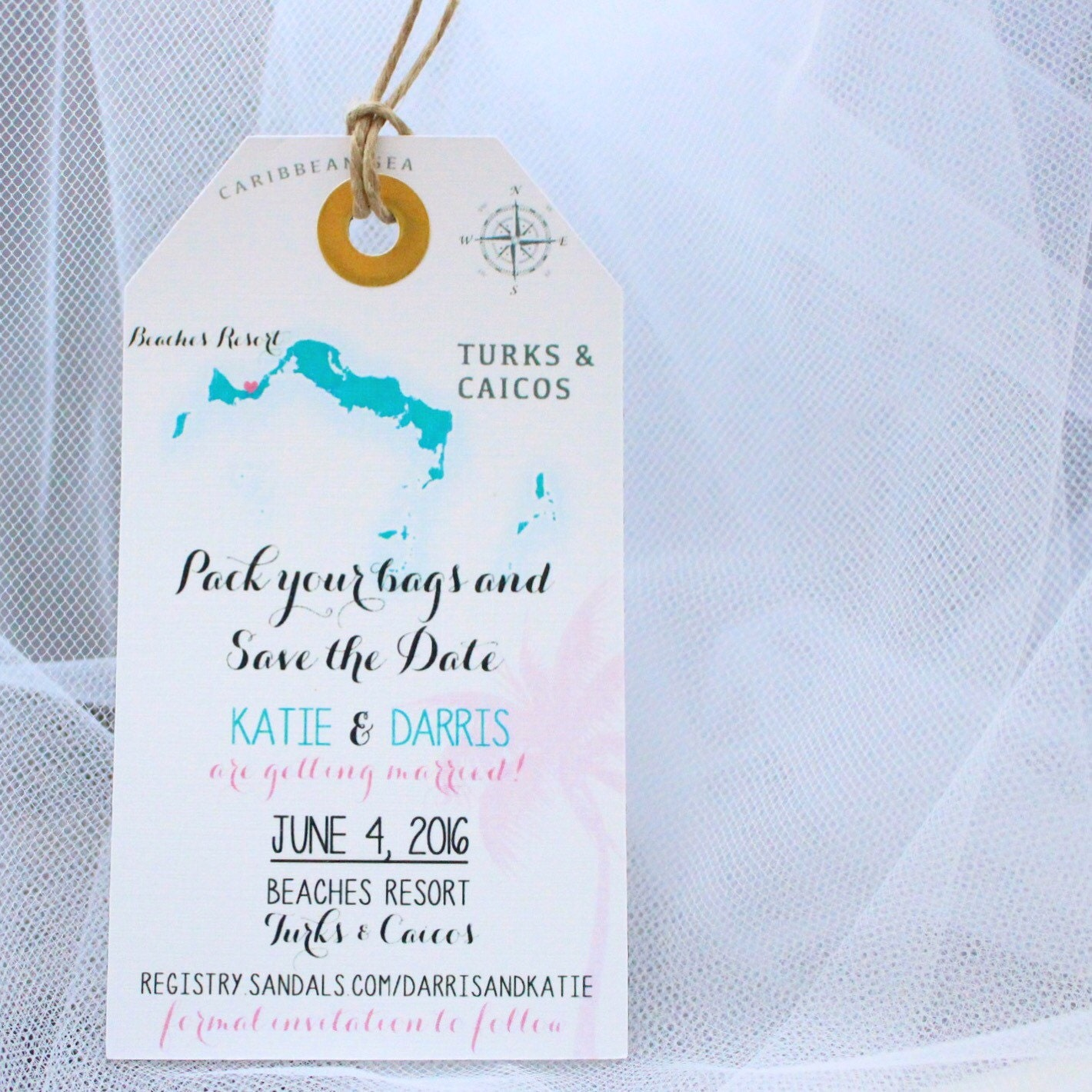 Wedding invitation Turks and Caicos Save the Date Luggage Tag