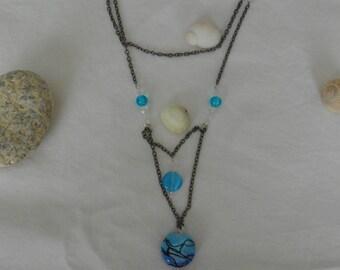 Leaf necklace 47 C - Blue necklace - black