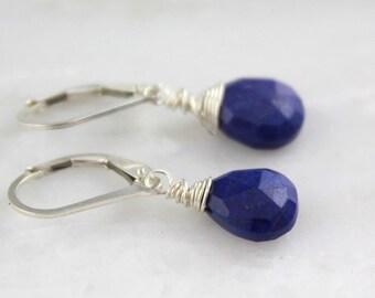 Cobalt Blue Lapis Small Teardrop Silver Earrings