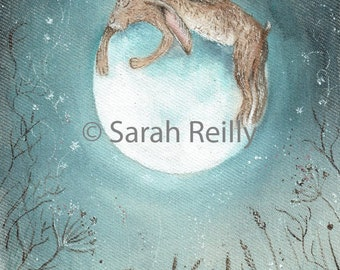 Hugging The Moon - gorgeous ART PRINT moon hare pictures print wildlife painting wall art, fantasy,