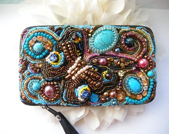 Butterfly phone case Beaded Phone Case with butterfly Cellphone Case butterfly Embroidered phone case Samsung case Blue Butterfly pouch