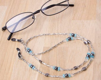Glasses chain with hematite, blue and silver beads | Eyeglass chain | Spectacle holder | Beaded Eyewear accessories | Gemstone glasses cord