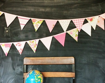 Pink Fabric Bunting Banner / Baby Girl Nursery Decoration / Pennant Flag Garland / Girl Baby Shower / First Birthday Party / Pink Decoration