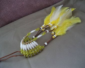 Beaded  Headdress , Yellow and white car charm ,Car accessories for men,Boho,Safety pin headdress , Rear view mirror charm, Car mirror charm