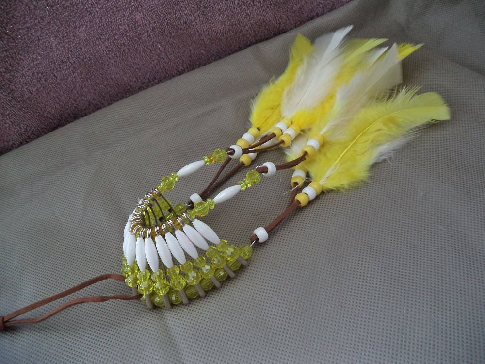 Beaded Headdress Yellow And White Car Charm Car