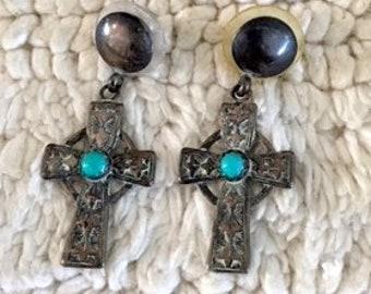 Turquoise on Silver Cross Earrings for pierced ears
