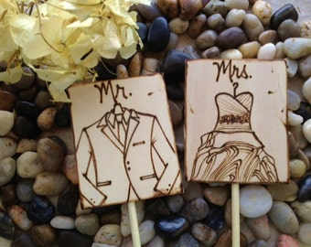 Wedding Cake Toppers with YOUR Wedding Dress and His Tuxedo Hand Engraved & Personalized