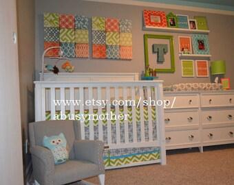 Modern Bumperless Boys Blue Gray Orange Custom Baby  Crib Bedding  Set DEPOSIT ONLY