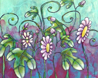 Floral painting, artwork * Passion flowers * original acrylic painting, cradled wood panel, home decor, collectible art, fantasy flowers