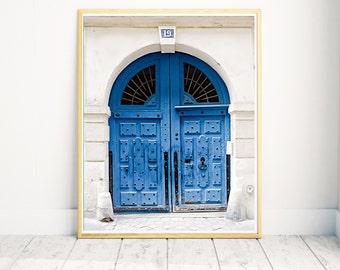Blue Paris Door, Paris Door Print, Paris Door Photo, Paris Wall Art, Large Wall Art, Paris Wall Decor, Marais Blue Door, Paris Home Decor