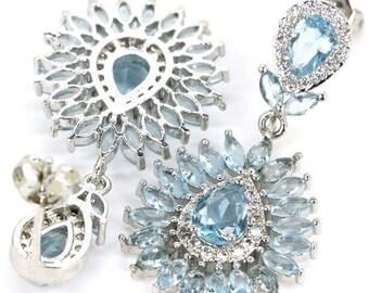 Sterling Silver Sky Blue Topaz Gemstone Earrings & AAA CZ Accents