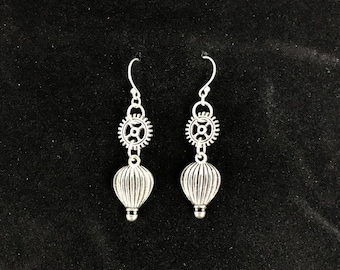 Steampunk Hot Air Balloon Earrings || Gears, Hot 3D Hot Air Balloon || Dangle Earrings
