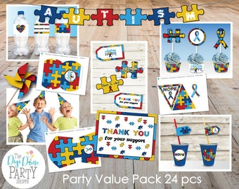 Autism Fundraising Party Printables Value Pack, 24 pcs - with Editable Invitation - Instant Download - Autism Awareness Charity Fundraise