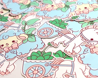 Kawaii Lamb and Pony Cart Planter Stickers