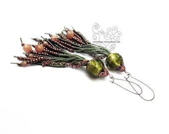 Green long fringe earrings tassel statement earrings bohemian fringes boho style gift for girlfriend Christmas giftideas