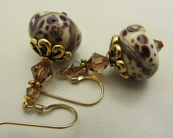Lampwork Earrings Earthtone Colored Earrings Glass Bead Earrings Dangle Drop Earrings SRAJD USA Handmade