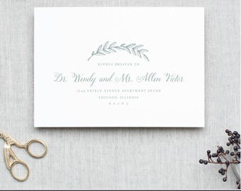 Printable Envelope Template | Woodland Wreath | Calligraphy Alternative | for Word or Pages Mac & PC | INSTANT DOWNLOAD
