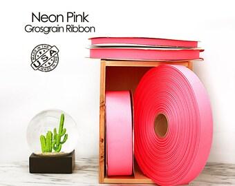 Neon Pink Grosgrain Ribbon - 4 widths - Berwick Offray Neon Pink grosgrain ribbon - USA made neon pink grosgrain ribbon -  (2550)
