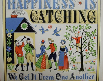 Vintage, Berggren, Tile Trivet,  Hot Pad, Happiness is Catching, Circa 1970s, Kitchen Wall Hanging, Table Top Trivet, Circa 1970s