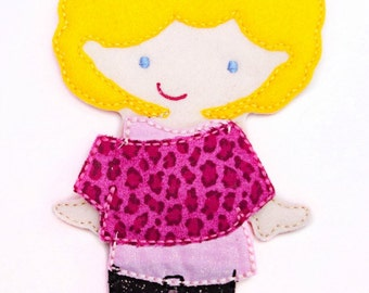 Felt Doll, Non Paper Doll, Doll with outfit, Felt Paper Doll, Felt Toy, Travel Toy