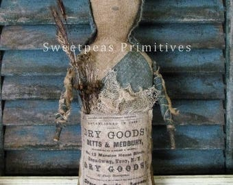 E-PATTERN PDF Instant Download Extreme Primitive Folk Art Early Vintage Style Dry Goods Prairie Doll Repro Feed Sack Sweetpeas Primitives