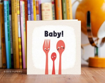 Baby card, Spoons and Fork Baby Card, Cute Baby Greeting Card, New Baby Card, First Baby, Baby Shower Card, Congratulations Baby Card