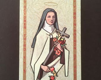 Holy Card - Prayer Card - St Theresa of the Child Jesus - Vintage Holy Card - Patron of Youth - October Feast Day - St Theresa - Saints