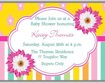Pink Flowers and Pastel Stripes Personalized Printable Digital DIY Invitation or Post Card ( Any Wording or Text)