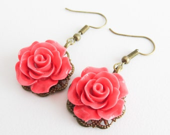 Rose red flower earrings, romantic jewelry, dangle and drop, vintage style earrings, floral jewelry, gift for her, girlfriend gift