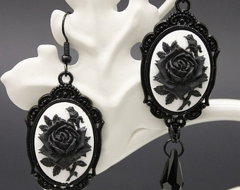 Black rose Gothic Earrings - in black with cameo and black Swarovski crystal pendants - Victorian Gothic Jewelry