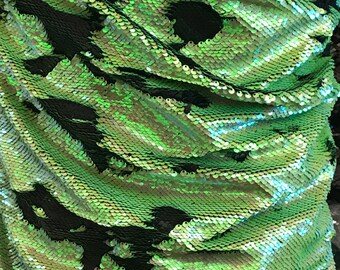 Shiny Iridescent Lime Green/Matte Black Mermaid Sequins NewTwo Tone Flip up sequins/Reversible Sequins Fabric by the yard