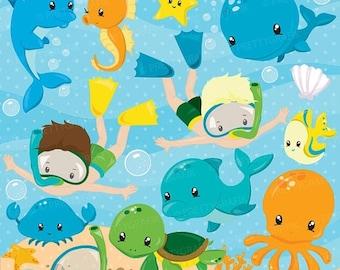 80% OFF SALE Snorkeling kids boy clipart, Scuba diving commercial use, beach vector graphics, ocean digital clip art, CL873