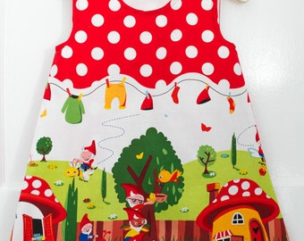 Girls Dress - Gnomes and Elves - Pinafore kitsch tea party outfit - Unique birthday party gift idea for little granddaughter