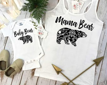 Mama Bear Set, Mommy and Me Shirts, New Mom Gift, Mommy and Me Outfits, Family Shirts, Baby Bear Shirt, Mama Bear Shirt Set,Mom and Daughter