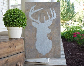 Deer head wood sign.  Christmas, Christmas decor, Christmas sign, deer head, nursery sign, woodlands nursery, cabin sign, lake sign, lake.