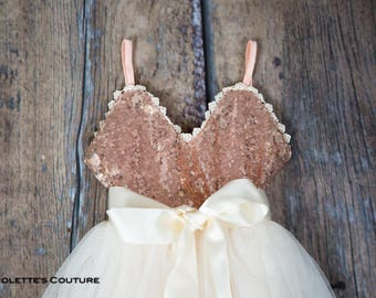 Rose Gold Flower Girl Dress, Cream Tulle Sash Belt set, Rose Gold sequin dress, Pink Ivory Cream Wedding, Gown,  glitter, Ivory tutu dress