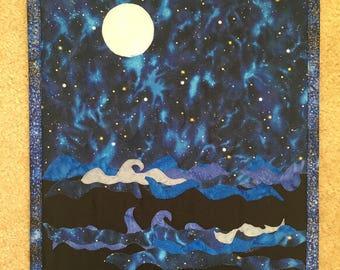 Moon Art Quilted Wall Hanging, Ocean Art Quilt, Wall Quilt