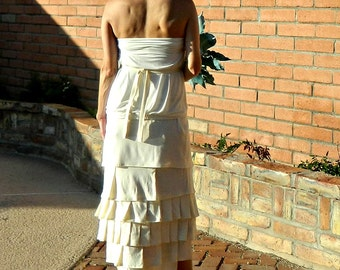 Wedding Separates-Wedding Skirt-Bridal Separates-Bridal Skirt-Hand Layered Couture Hi Low Ruffled Linen Skirt-Modern Bride