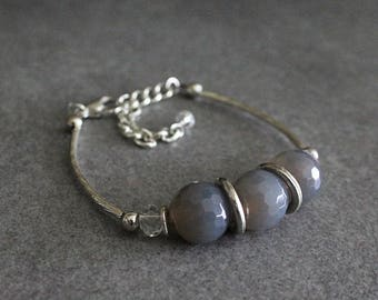 Blue Bracelet, Light Blue Bracelet, Blue Beaded Bracelet, Blue Bead Bracelet, Blue and Silver Bracelet, Grey Bracelet, Glass Bracelet