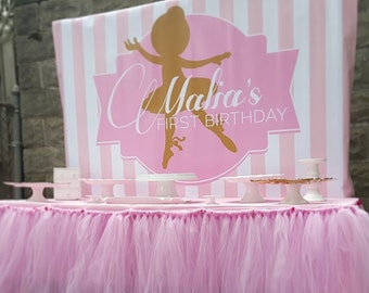 Little Ballerina Party Backdrop  Pink And Gold (choose Your Size)