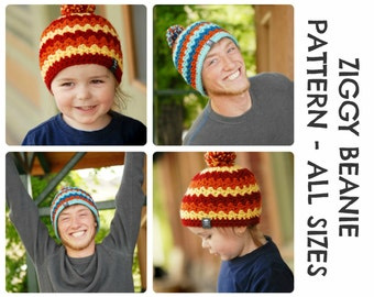 CROCHET HAT PATTERNS Ziggy Beanie - Adults and Kids Sizes