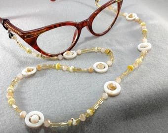 Glass and Shell Gold Color Eyeglasses/Reading Glasses Chain
