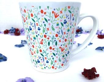 Floral Latte Coffee Mug