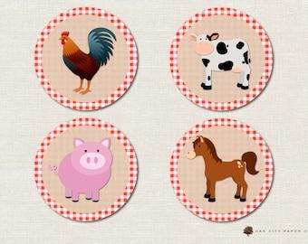 Farm Animal Cupcake Topper, Barnyard Animal Cupcake Topper, Farm Cake Topper, Barnyard Cupcake Topper - Instant Download, Printable, DIY