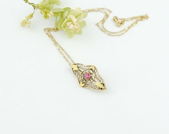 Antique Edwardian 10k Gold Pendant Necklace | Pink Stone 10k Gold Brooch Pendant