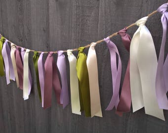 Lilac and ivory ribbon bunting wedding bunting by Joyce Molly Designs